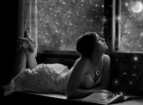 Girl Looking at Stars Sky